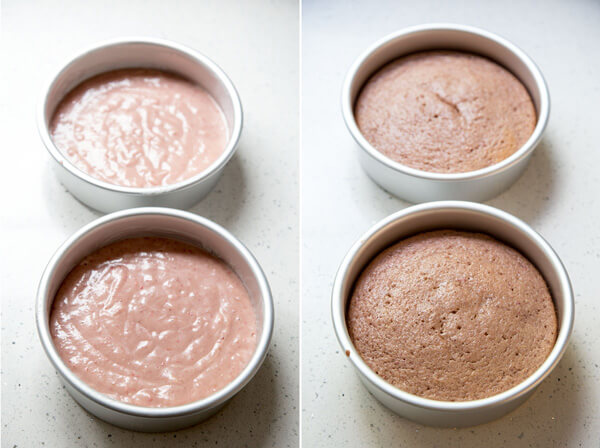 "Strawberry cake batter is divided into two 6"" cake pans and baked"