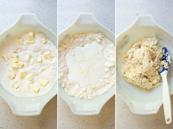 A collage showing the process of making honey buttermilk biscuit dough