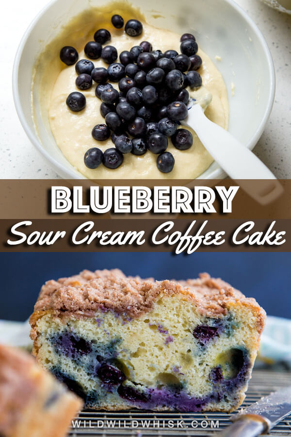 Blueberry Coffee Cake with cinnamon streusel topping is made with sour cream and plump fresh blueberries. The cake is dense yet, light, soft and extremely moist. A slice of this blueberry crumb cake is the perfect morning treat to wake up to. #wildwildwhisk #coffeecake