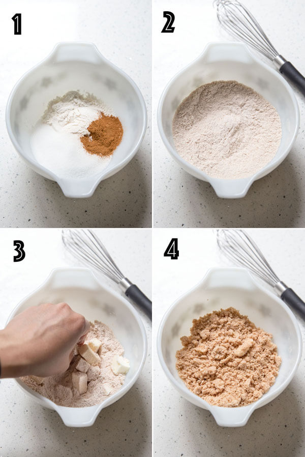 A photo collage showing the process of making cinnamon streusel