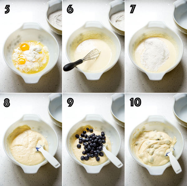 A photo collage showing the process of making the blueberry coffee cake batter