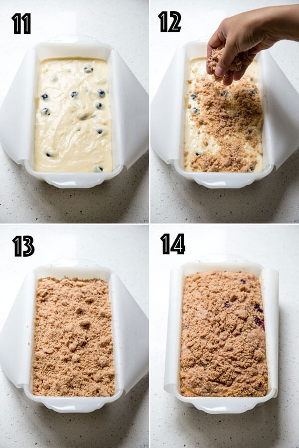 A photo collage showing cinnamon streusel being added to the cake batter in a loaf pan
