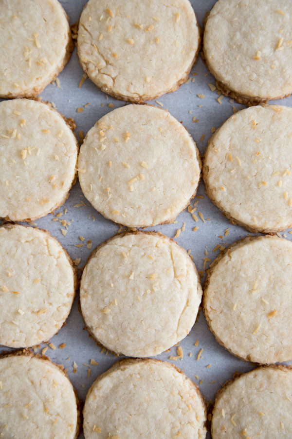 Coconut shortbread cookies laying flat on a table top