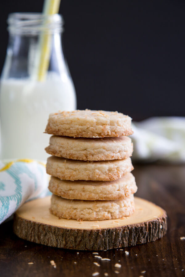 A stack of coconut shortbread