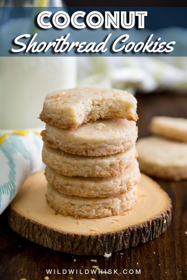 These Coconut Shortbread Cookies are so easy to make. Just 6 ingredients and a little bit of your time, you'll have some buttery and delicious coconut cookies to enjoy. #wildwildwhisk #shortbreadcookies