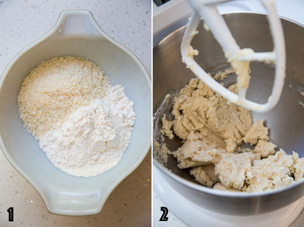 A collage of two photo showing the dry ingredient mixture in a bowl and coconut cookie dough being made in a stand mixer
