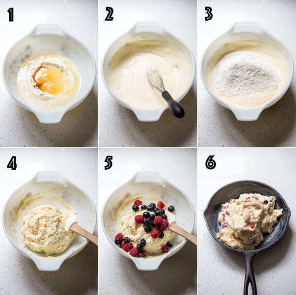 A collage of 6 photos show the process of making the mascarpone berry cake batter
