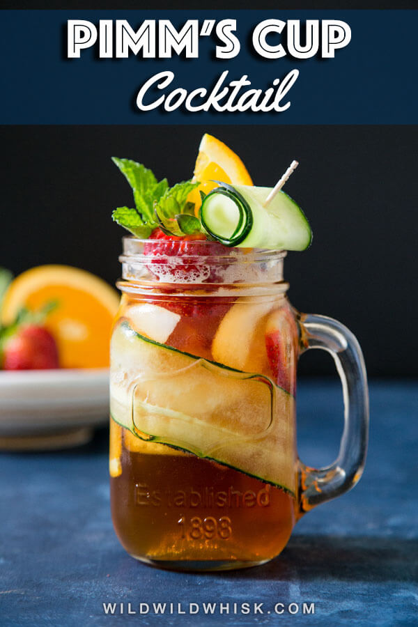 This classic Pimm's cup cocktail is a refreshing summer cocktail, not too sweet, not too strong, perfect for sipping. #wildwildwhisk #pimmscup
