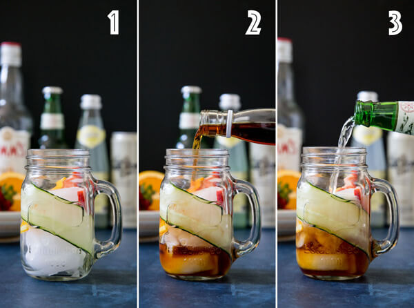 A collage of photos showing the process of making a Pimm's cup