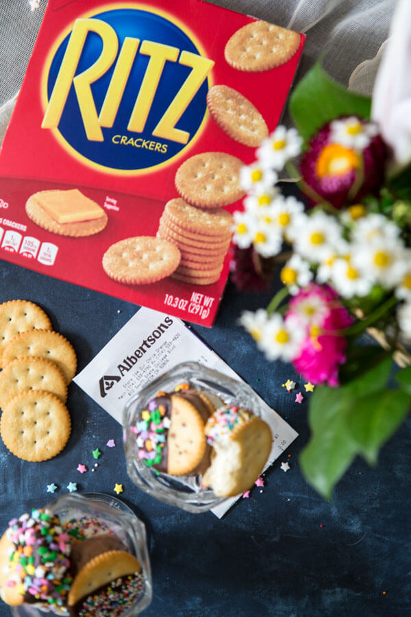 Ritz crackers ice cream sandwiches in a sundae glass next to a box of Ritz crackers and an Albertson's receipt