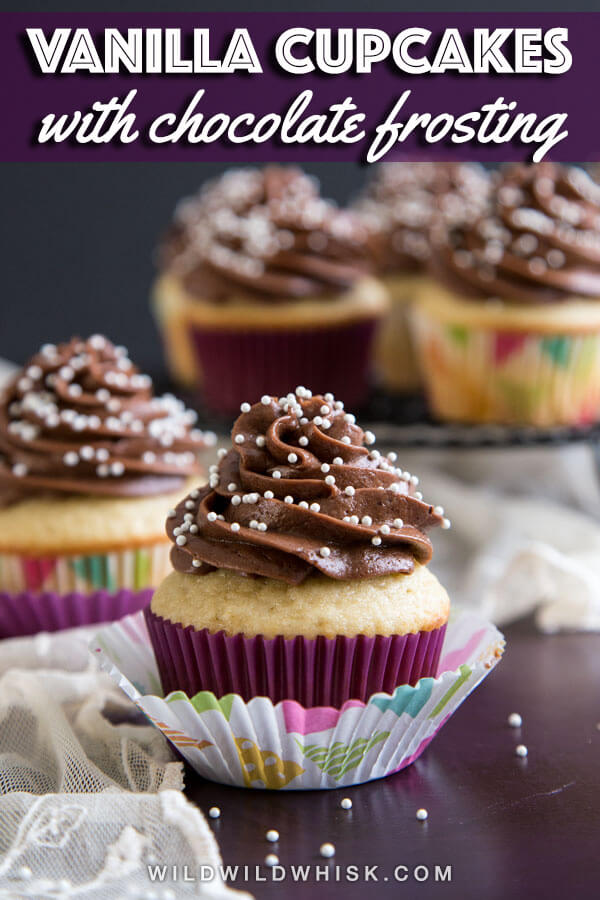 Soft and fluffy homemade vanilla cupcakes with chocolate frosting is a classic combo perfect for birthday celebration. Or pair this easy vanilla cupcake recipe from scratch with different frosting to create any flavor combo you want! #wildwildwhisk #cupcakes
