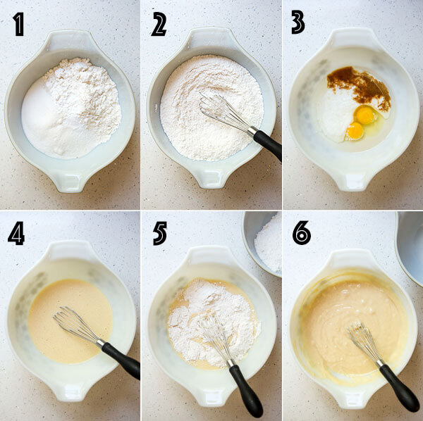 A photo collage showing how to make the vanilla cupcake batter