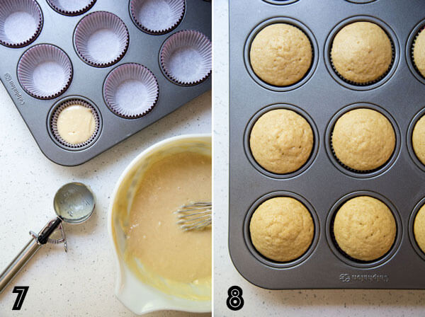 A photo collage showing how to divide cupcake batter in a muffin pan using an ice cream scoop