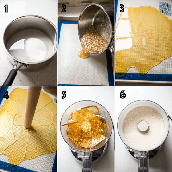 A collage of photo showing how to caramelize white sugar with water, allowing it to harden and then making caramel dust