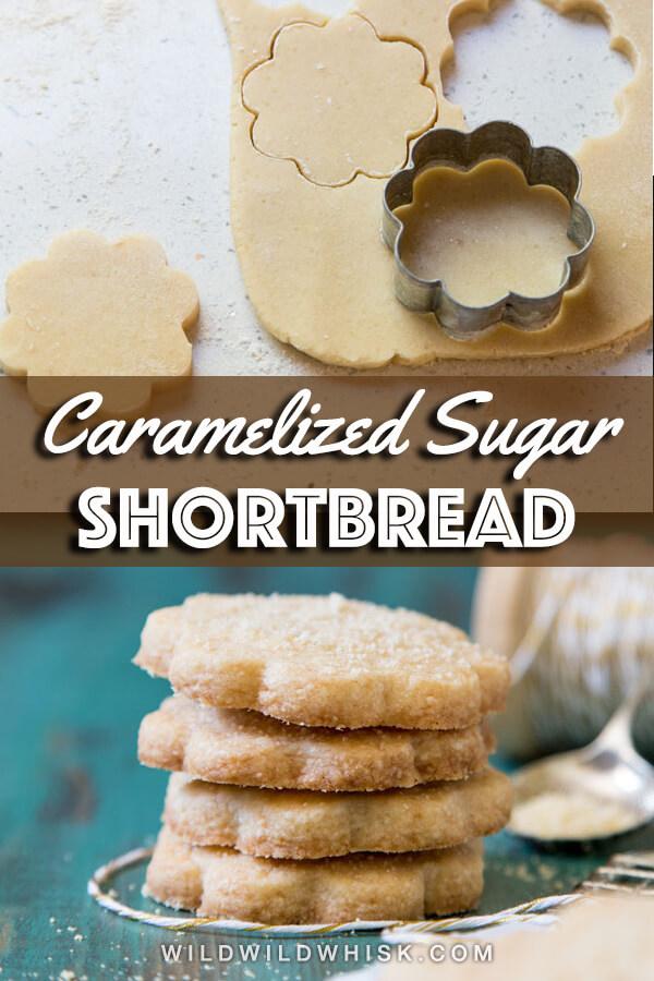 These Caramelized Sugar Shortbread Cookies are made with caramel dust instead of granulated sugar to give you the best shortbread cookies. #wildwildwhisk #shortbreadcookies
