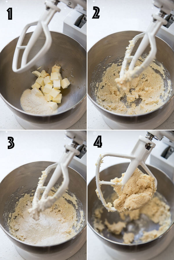 A collage of 4 photos showing shortbread cookie dough being made in a stand mixer