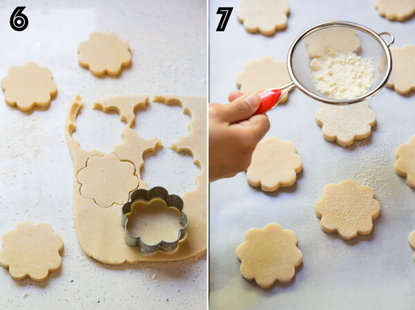 A collage of 2 photos showing shortbread cookie dough being cut and sprinkled with caramelized sugar before baking