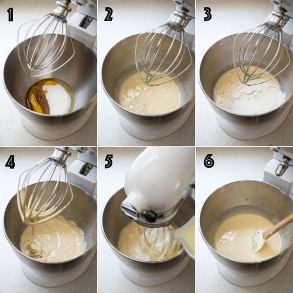 A collage of photos showing the process of making yellow cake from scratch