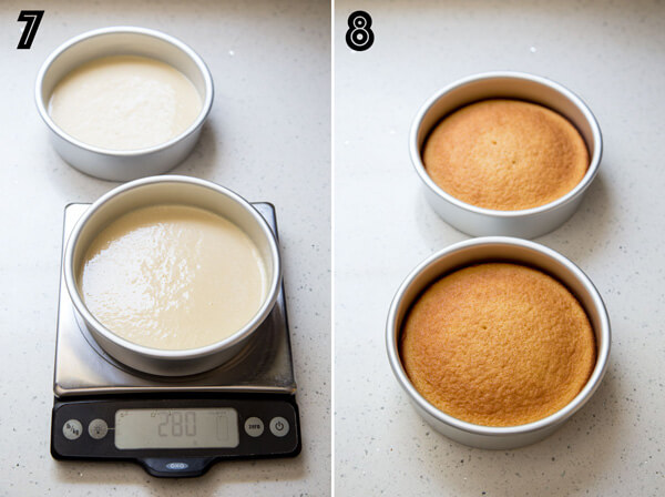 Divide vanilla cake batter between two cake pans using a kitchen scale and bake until golden brown