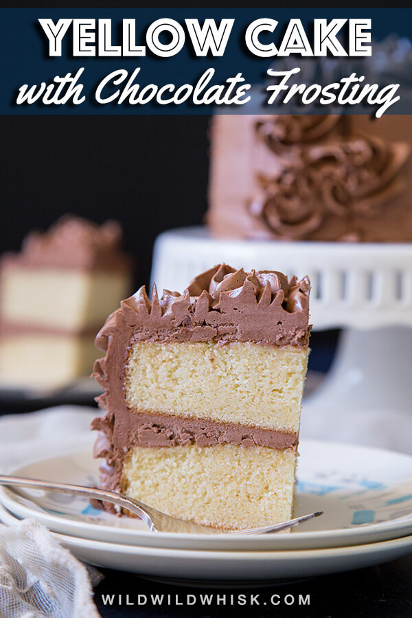 This classic birthday cake recipe is made from two layers of from scratch yellow cake with chocolate frosting. The smaller size is also perfect for an everyday celebration. #wildwildwhisk #cake