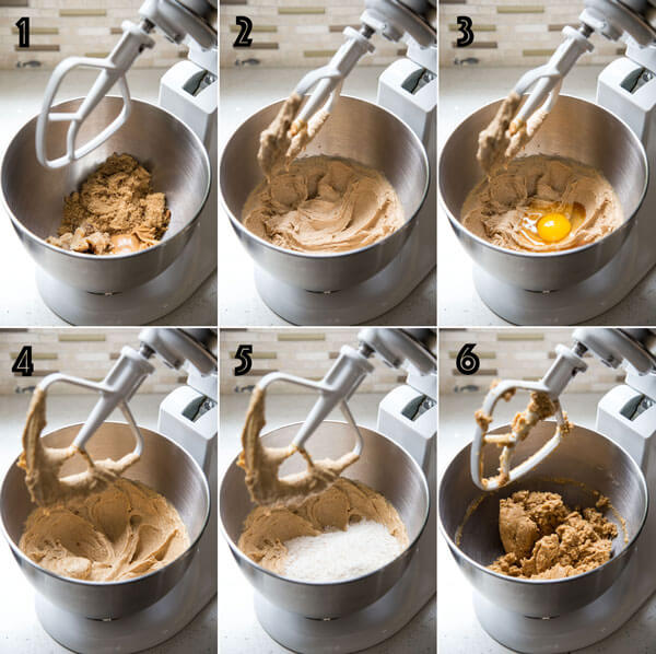 A collage of 6 photos showing the process of making peanut butter cookie dough