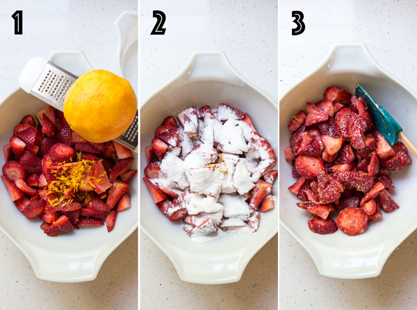A collage of 3 photos showing how to prepare the strawberry cobbler filling