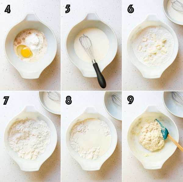 A collage of 6 photos showing how to make the shortcake biscuit dough
