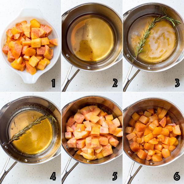Step 1 through 6 process photos for making peach sauce