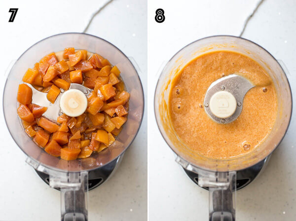 Making smooth peach sauce with a food processor