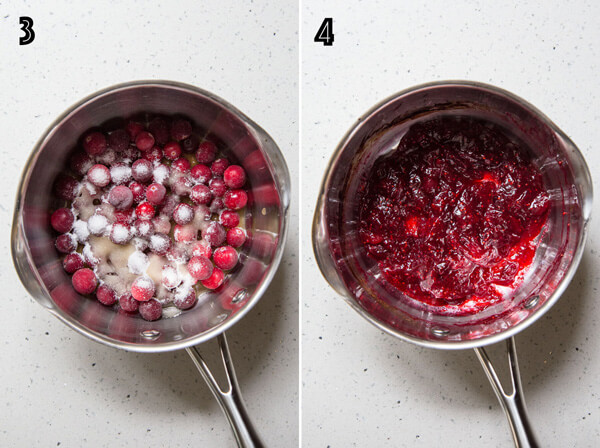 Making cranberry jam