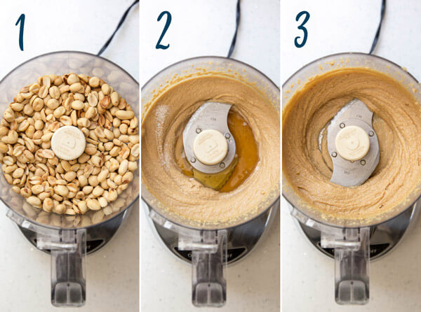 Making homemade peanut butter in a food processor