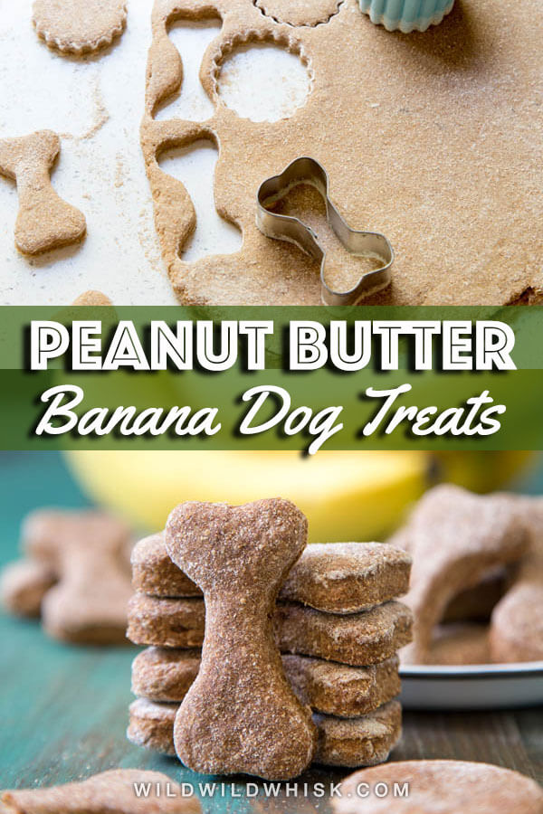 With only 5 ingredients, these homemade Peanut Butter Banana Dog Treats are a great way to use up those overripe bananas and a delicious way to treat your dogs. #wildwildwhisk #dogtreats
