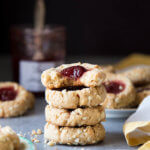 A stack of jam thumbprint cookies