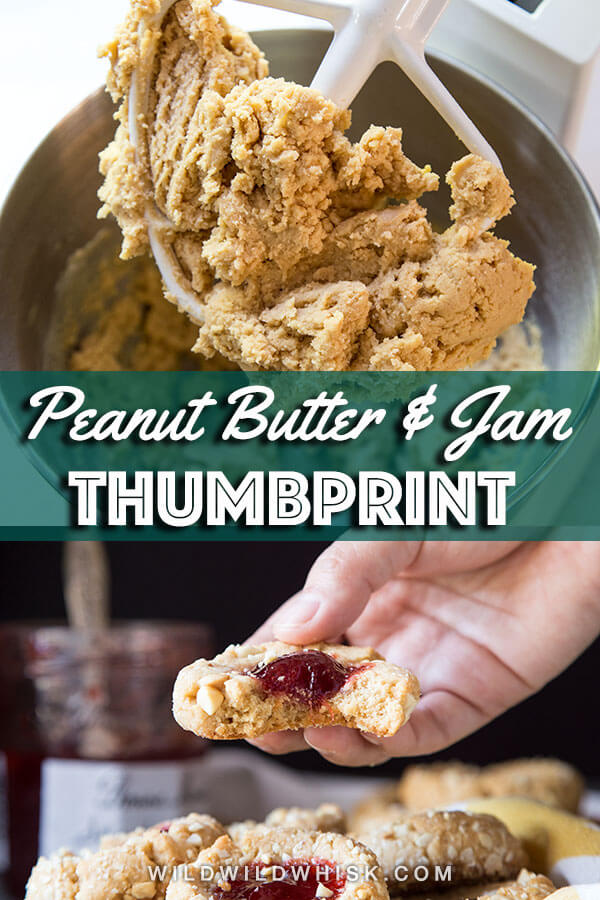 Upgrade your classic Jam Thumbprint Cookies with peanut butter in the dough making them a delight among PB&J fanatics and a flavor combo everyone will love! #wildwildwhisk #thumbprintcookies