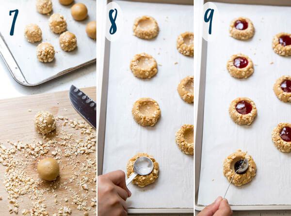 Preparing jam thumbprint cookies for baking