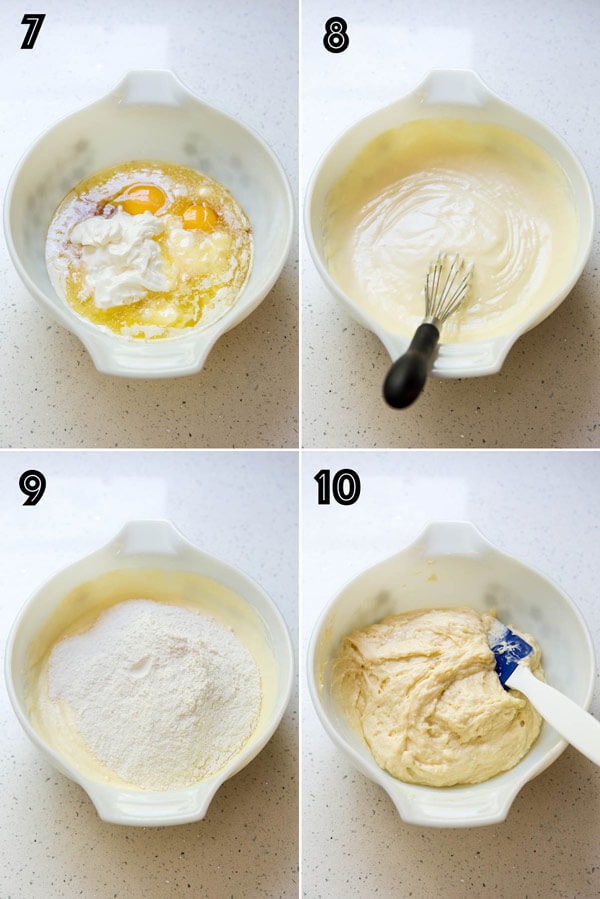 Making sour cream coffee cake batter