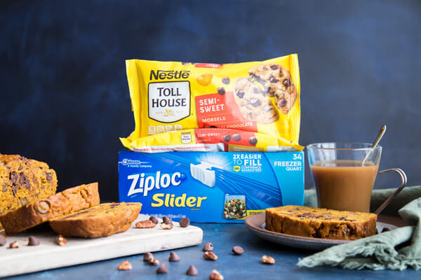 Chocolate chip pumpkin bread with Toll House and Ziploc
