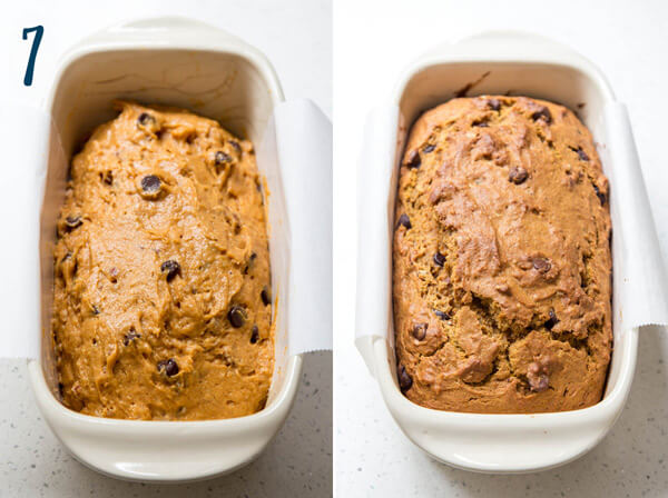 Baking chocolate chip pumpkin bread in a loaf pan
