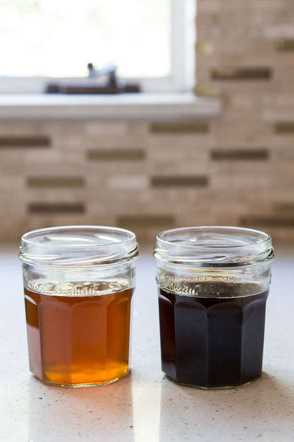 Two jars of brown butter for color comparison