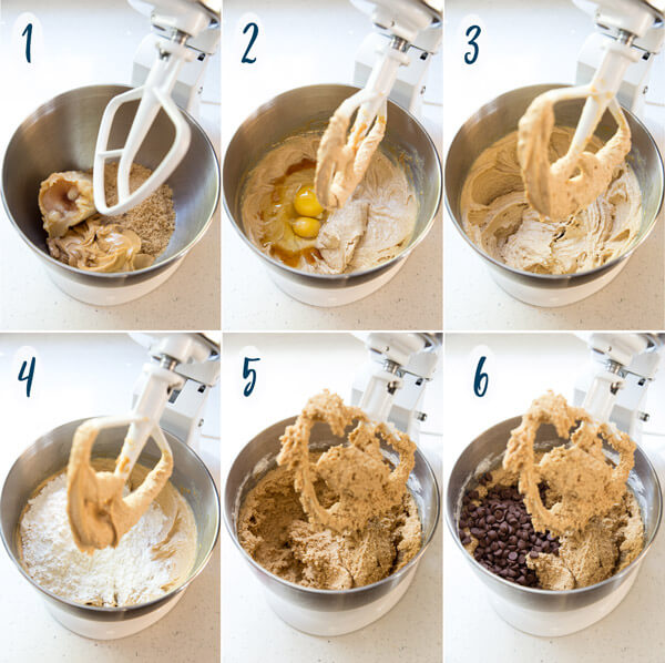 Making peanut butter chocolate chip cookie dough