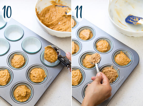 Preparing pumpkin muffins for baking