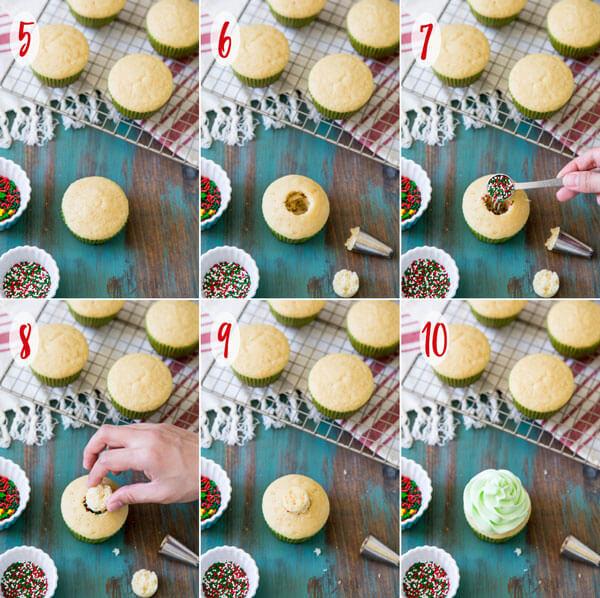 Assembling Christmas pinata cupcakes