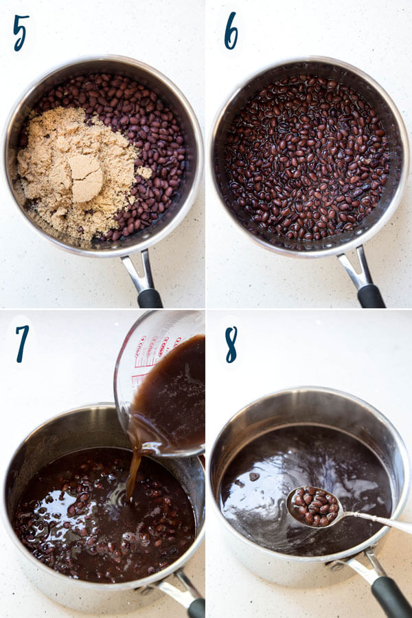 Adding sugar to cooked black to make Vietnamese black bean dessert