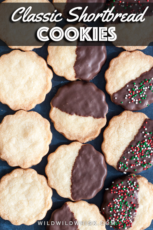 These Classic Shortbread Cookies are buttery and delicious, and they're guaranteed to be a crowd favorite, espeically when covered in melted chocolate! #wildwildwhisk #shortbread