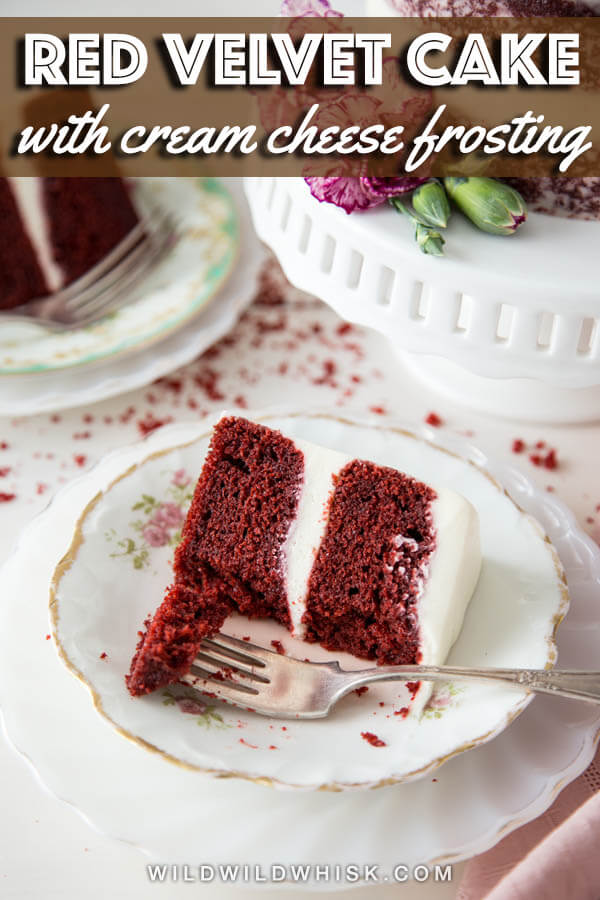 A slice of red velvet cake on a plate