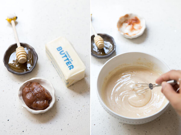 Collage of 2 photos showing the process of making honey butter