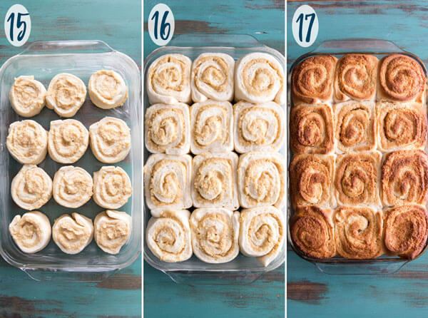 A collage showing unbaked rolls, and baked rolls