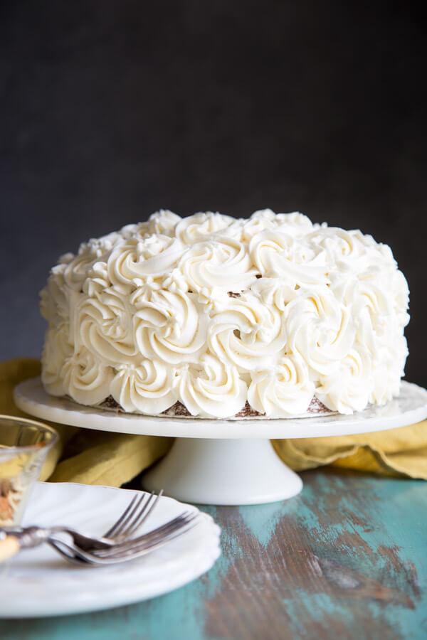 Hummingbird cake on a cake stand