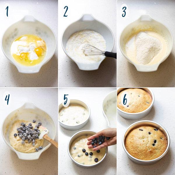 Making lemon blueberry cake batter