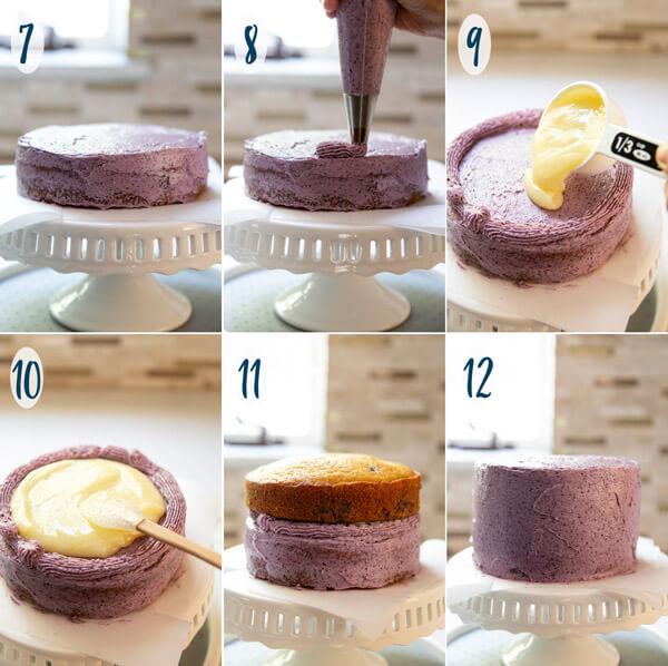 Assembling lemon blueberry cake